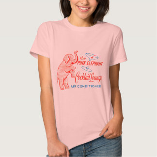 Kitsch Vintage Pink Elephant Cocktail Lounge Tee Shirt