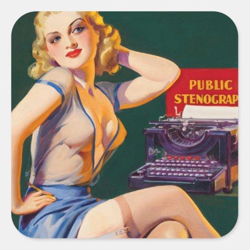 Kitsch Vintage 'Public Stenographer' Pinup Girl Square Sticker