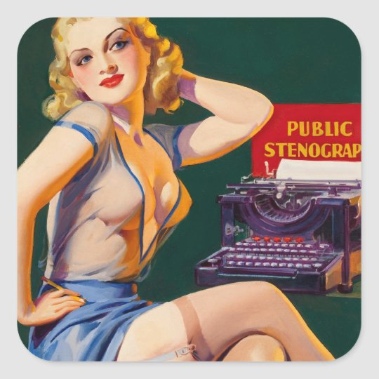Kitsch Vintage 'Public Stenographer' Pinup Girl Square Sticker