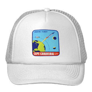 Kitsch Vintage Retro Space Cape Canaveral Decal Trucker Hat