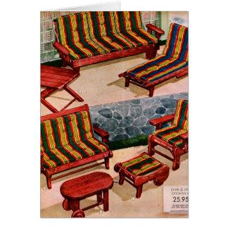 Kitsch Vintage Retro Suburbs Patio Furniture Card