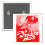 Kitsch Vintage Safety 'Stop Needless Noise' 15 Cm Square Badge