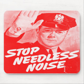 Kitsch Vintage Safety Stop Needless Noise Mouse Pads