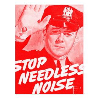 Kitsch Vintage Safety 'Stop Needless Noise' Postcard