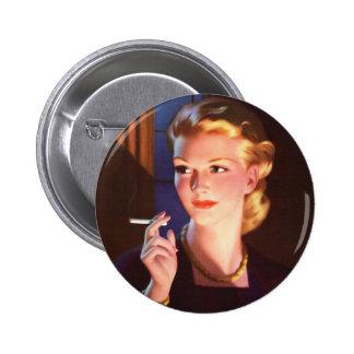 Kitsch Vintage Smoking Cigarette Pin-Up Girl 6 Cm Round Badge