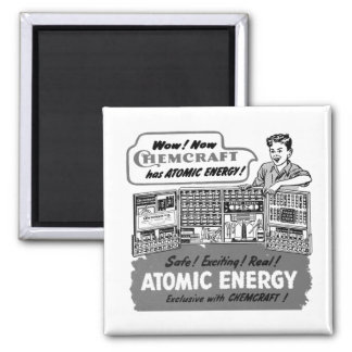 Kitsch Vintage With Atomic Energy Chemistry Set Square Magnet