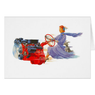 Kitsch Vintage Woman Driving The Engine Card