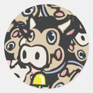 Kitschy Pop Art Dairy Moo Cow In Retro Style - Classic Round Sticker