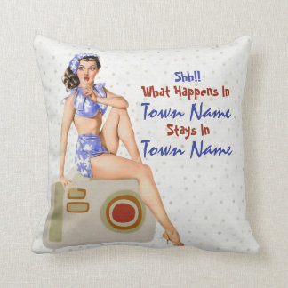 "Kitschy Retro Pinup ""What Happens Stays"" Cushion"