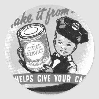Kitssch Vintage Gas Service Station Kid Ad Round Sticker