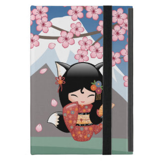 Kitsune Kokeshi Doll - Black Fox Geisha Girl Case For iPad Mini
