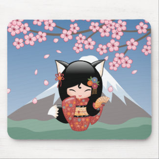 Kitsune Kokeshi Doll - Black Fox Geisha Girl Mouse Pad
