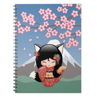 Kitsune Kokeshi Doll - Black Fox Geisha Girl Notebook