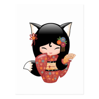 Kitsune Kokeshi Doll - Black Fox Geisha Girl Postcard