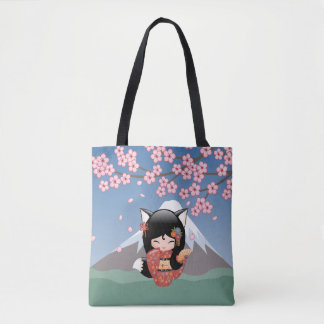 Kitsune Kokeshi Doll - Black Fox Geisha Girl Tote Bag