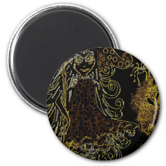 Kitsy the witch 6 cm round magnet