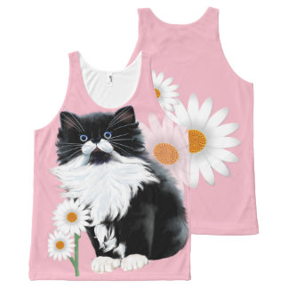 Kitten and Daisy All-Over Print Singlet
