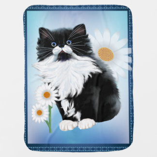 Kitten and Daisy Baby Blanket