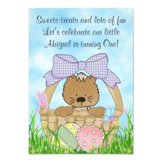 Kitten and Easter Basket 1st Birthday Invitation