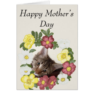 Kitten and Flower Garland Mother's Day Card