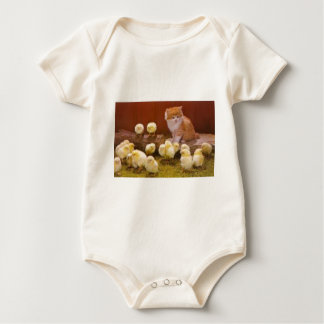 Kitten and Fluffy Chicks Baby Bodysuit