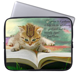 Kitten and Funny Jane Austen Quote Laptop Cover