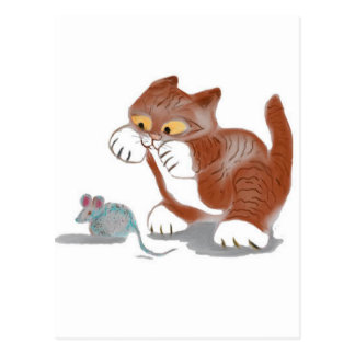 Kitten and Mouse Toy Postcard