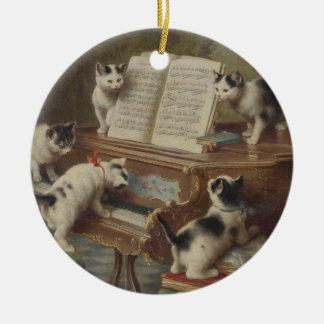 Kitten and piano ceramic ornament