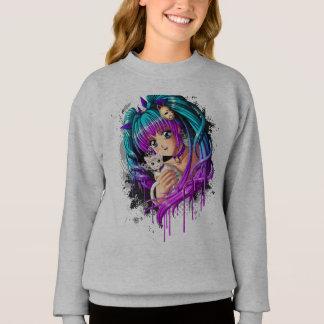 Kitten and Pigtail Manga Girl Sweatshirt
