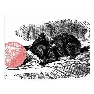 Kitten and Pink Yarn Postcard