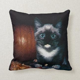 Kitten and Pumpkin for Halloween Cushion