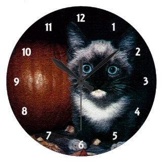 Kitten and Pumpkin for Halloween Large Clock