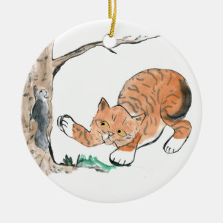 Kitten and Squirrel Play Chase- Chase Round Ceramic Decoration