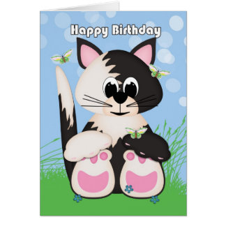 Kitten Birthday Greeting Card With Butterflies