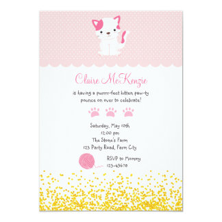 Kitten Birthday Invitation (Cute Kitty Cat)