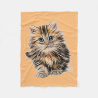 Kitten Blue Eyes Fleece Blanket