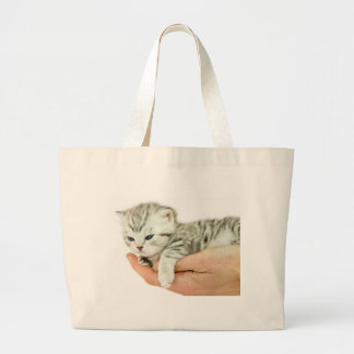 Kitten british shorthair silver tabby on hand large tote bag