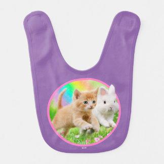 Kitten & Bunny with Rainbow Bib