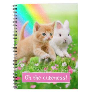 Kitten & Bunny with Rainbow Notebook