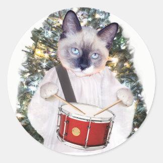 Kitten Carol Christmas Classic Round Sticker