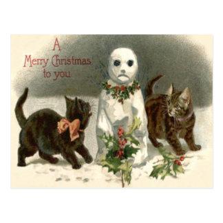 Kitten Cat Curious Snowman Holly Wreath Postcard