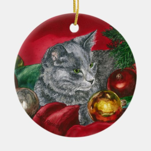 "Kitten, Cat Ornament - ""Home for the Holidays"""