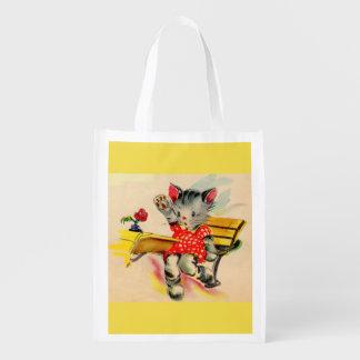 kitten cat student reusable grocery bag