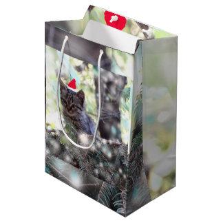 Kitten Christmas time Gift Bag - Medium, Matte
