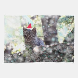 Kitten Christmas time Tea Towel 40.6 cm x 61 cm