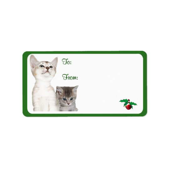 Kitten Christmas Wishes Gift Tag Stickers #2