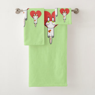 Kitten clinging to love bath towel set
