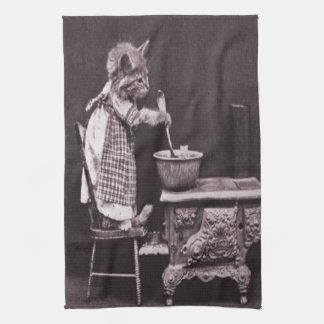 Kitten Cooking On Stove Tea Towel