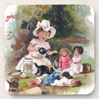 Kitten Crashes Victorian Tea Party Beverage Coasters
