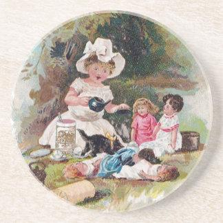 Kitten Crashes Victorian Tea Party Sandstone Coaster